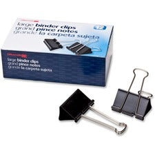 "OIC Binder Clips - Large - 2"" Width - 1"" Size Capacity - 12 / Box - Black"