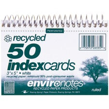 "Roaring Spring Printable Index Card - 30% Recycled - 5"" x 3 1/2"" - 100 lb Basis Weight - 50 Card - White"