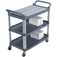 "Rubbermaid Commercial 3-Shelf Mobile Utility Cart - 3 Shelf - 300 lb Capacity - 4"" Caster Size - Aluminum - 40.6"" Width x 20"" Depth x 37.8"" Height - Aluminum Frame - Gray"
