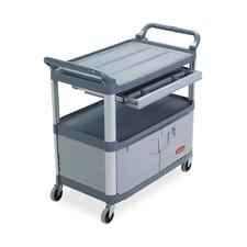 "Rubbermaid Commercial Instrument Cart - 3 Shelf - 300 lb Capacity - 4"" Caster Size - 40.6"" Width x 20"" Depth x 37.8"" Height - Gray"