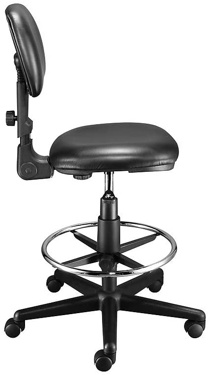 Staples Luxura Faux Leather Drafting Stool With Backrest And Footrest, Black (25093-CC)
