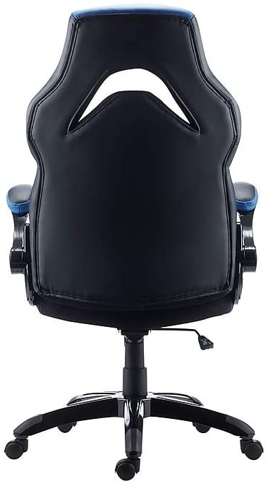 Staples Bonded Leather Racing Gaming Chair, Black and Blue (51464-CC)