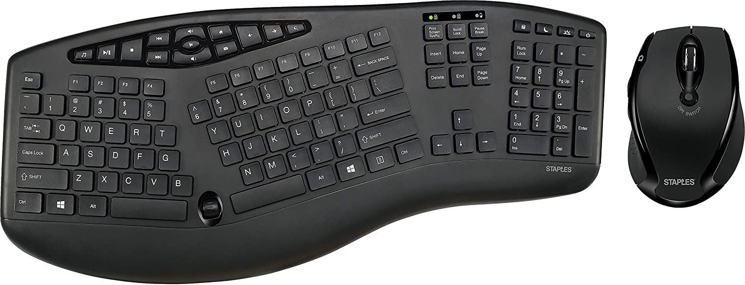 Staples Wireless Ergo Keyboard and Optical Mouse