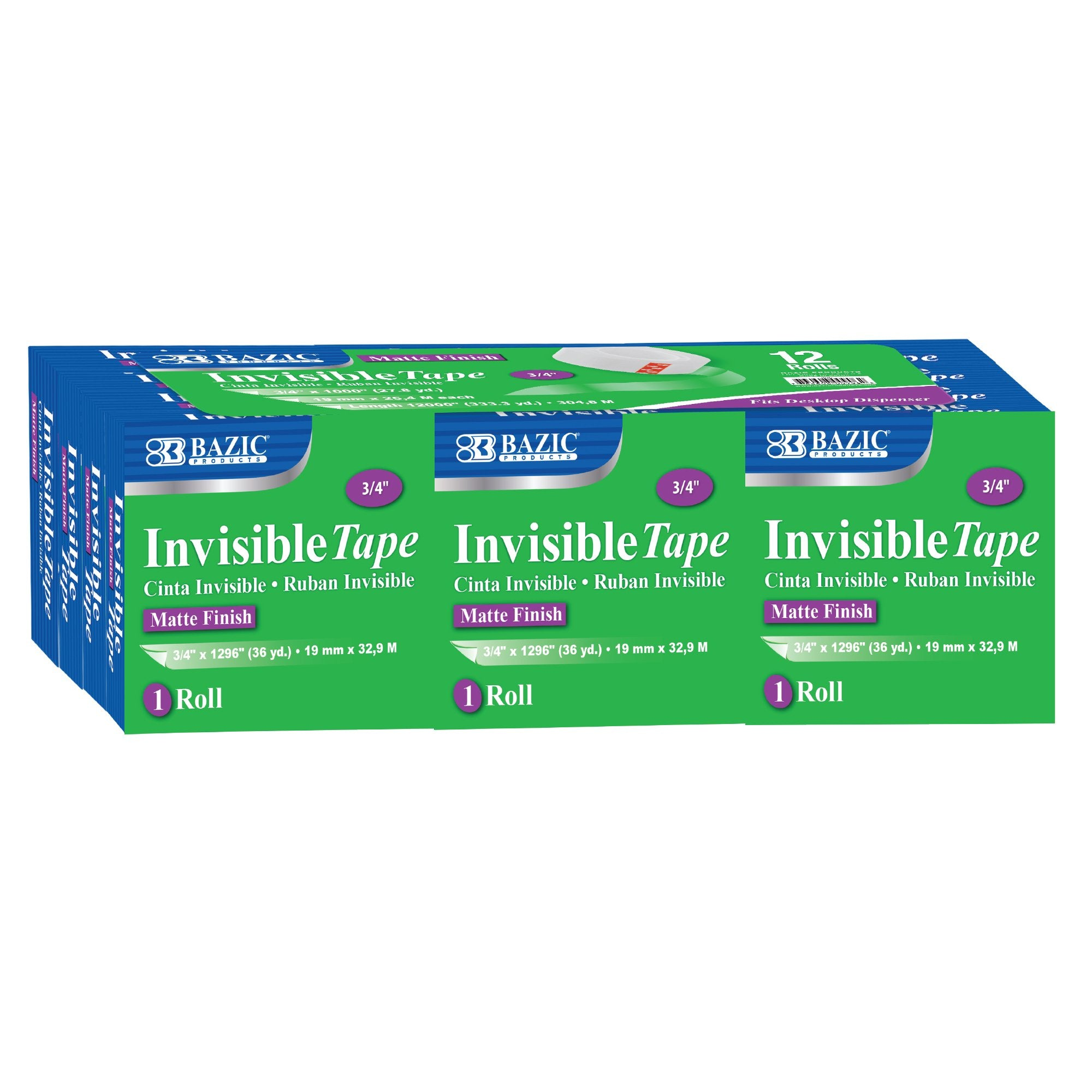 BAZIC 3/4 X 1296 Invisible Tape Refill (12/Pack)