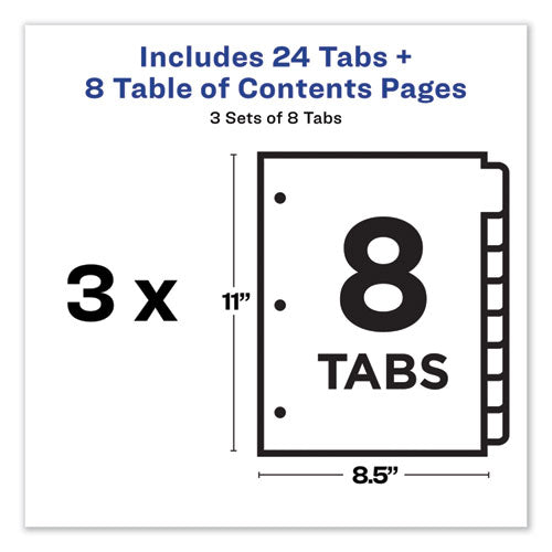 Customizable Table Of Contents Ready Index Dividers With Multicolor Tabs, 8-tab, 1 To 8, 11 X 8.5, White, 3 Sets