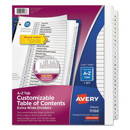 Customizable Toc Ready Index Black And White Dividers, 26-tab, Letter
