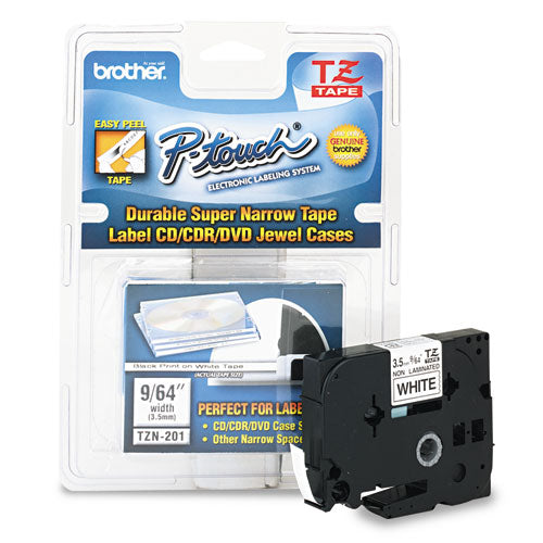 "Tz Super-narrow Non-laminated Tape For P-touch Labeler, 0.13"" X 26.2 Ft, Black On White"