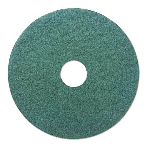 "Heavy-duty Scrubbing Floor Pads, 20"" Diameter, Green, 5-carton"