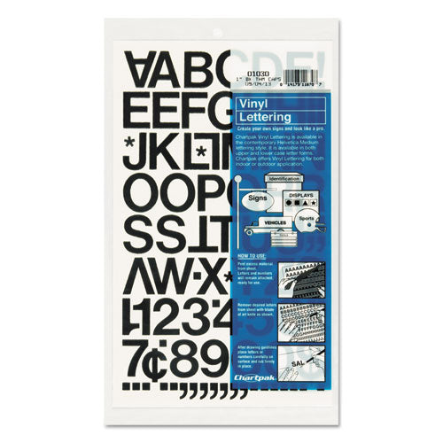 "Press-on Vinyl Letters And Numbers, Self Adhesive, Black, 1""h, 88-pack"