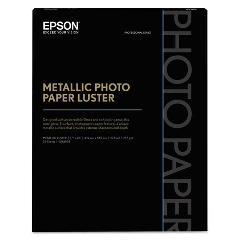 Professional Media Metallic Gloss Photo Paper, 10.5 Mil, 17 X 22, White, 25-pack