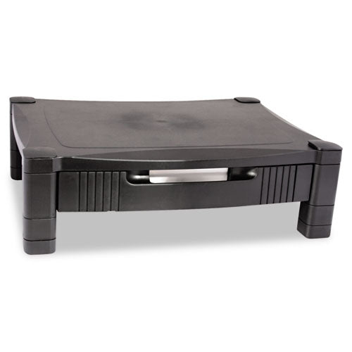 "Monitor Stand With Drawer, 17"" X 13.25"" X 3"" To 6.5"", Black, Supports 50 Lbs"