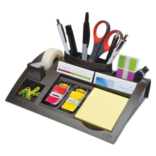 "Notes Dispenser With Weighted Base, Plastic, 10 1-4"" X 6 3-4"" X 2 3-4"", Black"