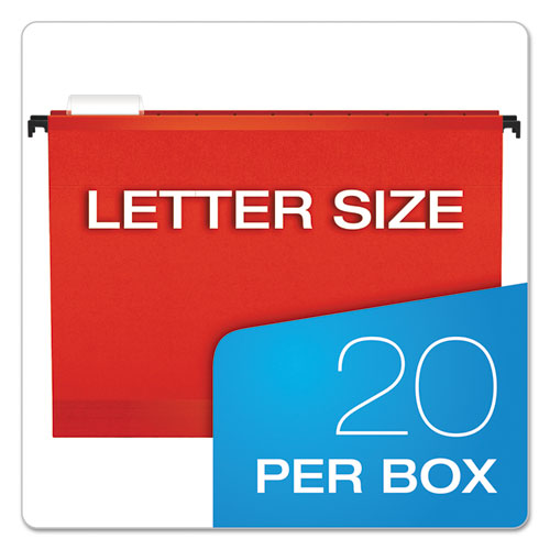 Surehook Hanging Folders, Letter Size, 1-5-cut Tab, Red, 20-box
