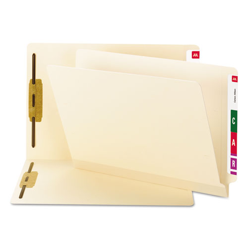 Tuff Laminated 2-fastener Folders With Reinforced Tab, Straight Tab, Letter Size, Manila, 50-box