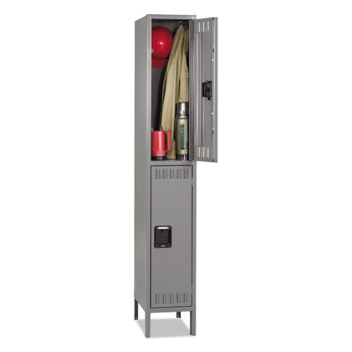 Double Tier Locker With Legs, Single Stack, 12w X 18d X 78h, Medium Gray