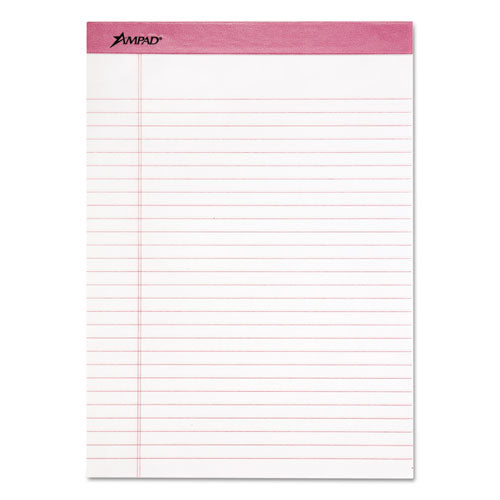 Pink Writing Pads, Wide-legal Rule, 8.5 X 11, White, 50 Sheets, 6-pack