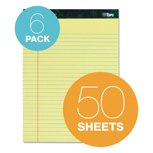 Docket Ruled Perforated Pads, Wide-legal Rule, 8.5 X 11.75, Canary, 50 Sheets, 6-pack
