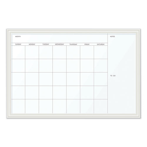 Magnetic Dry Erase Calendar With Decor Frame, 30 X 20, White Surface And Frame