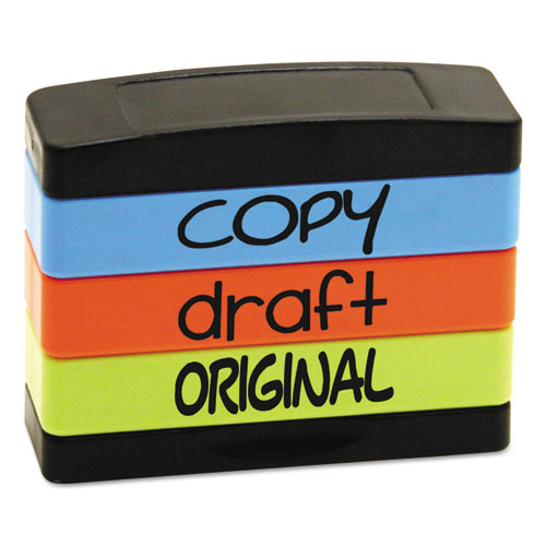 Stack Stamp, Copy, Draft, Original, 1 13-16 X 5-8, Assorted Fluorescent Ink