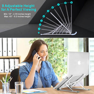 Aluminum Laptop Stand 9 Angles Adjustable Holder Ergonomic Foldable Portable Computer Tablet Stand - Teddith CA