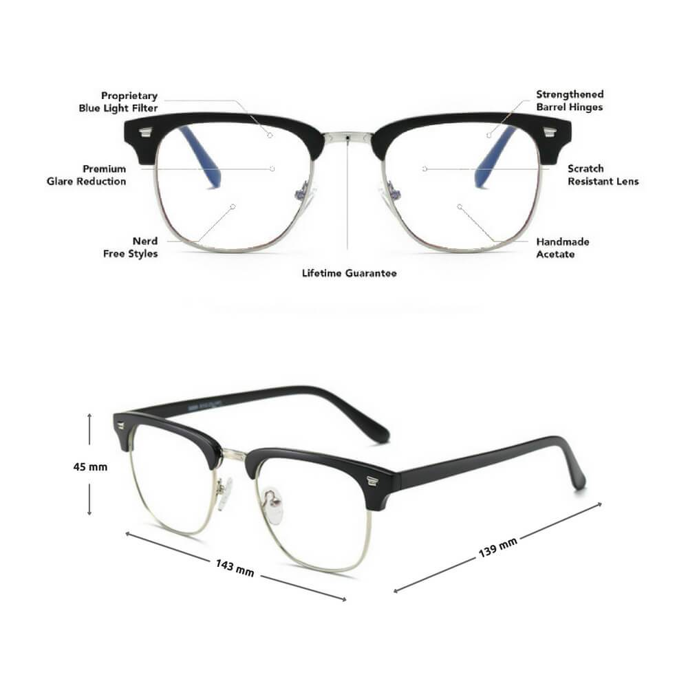 Blue Light Glasses for Computer Anti Glare Half Frame Clubmaster - Teddith Blue Light Glasses Computer Glasses Gaming Reading Glasses Anti Glare Reduce Eye Strain Screen Glasses
