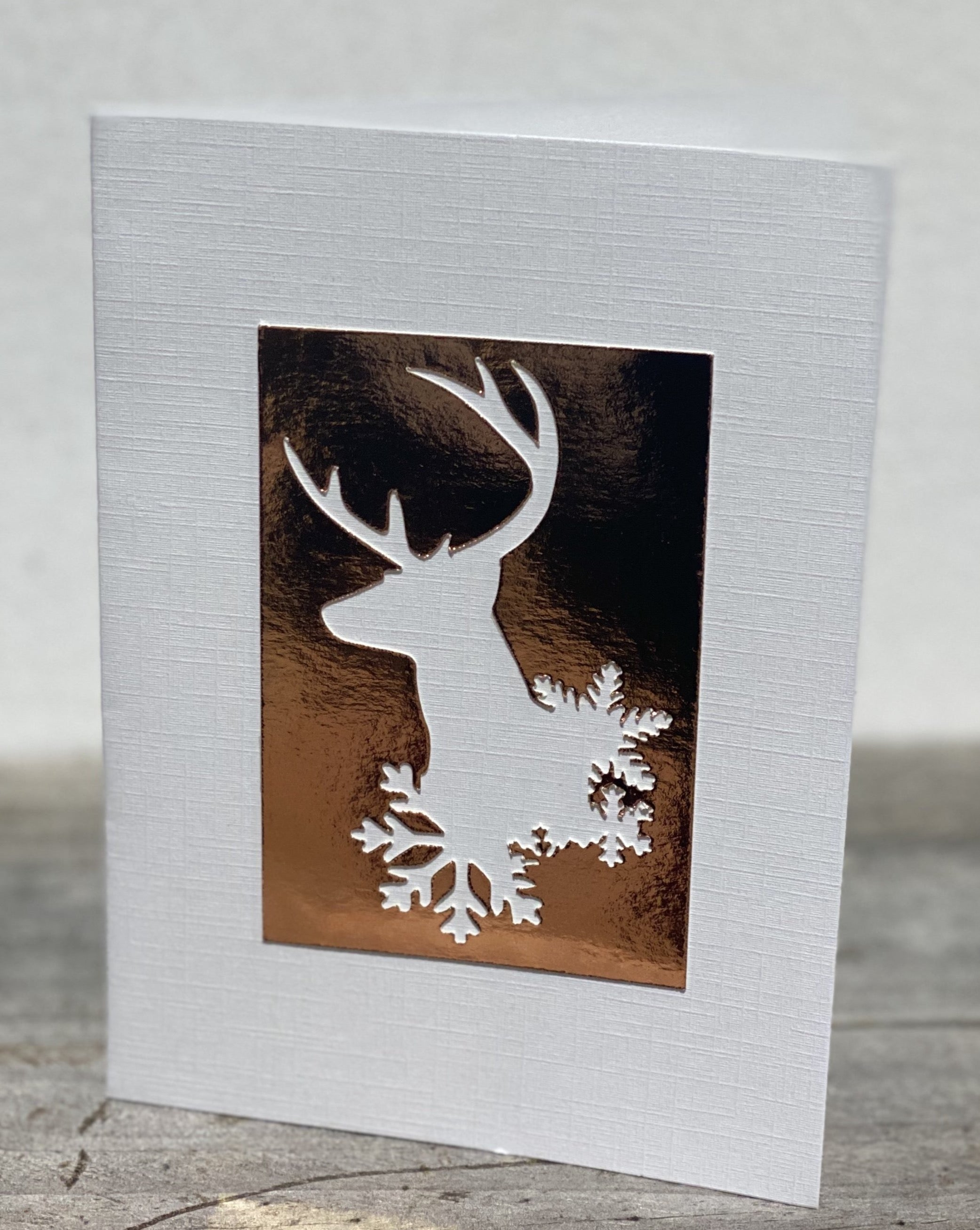 White : Reindeer Snow Frame - Christmas Cards