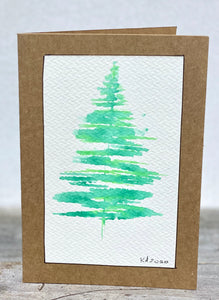 D Christmas Tree Watercolour - Christmas Cards