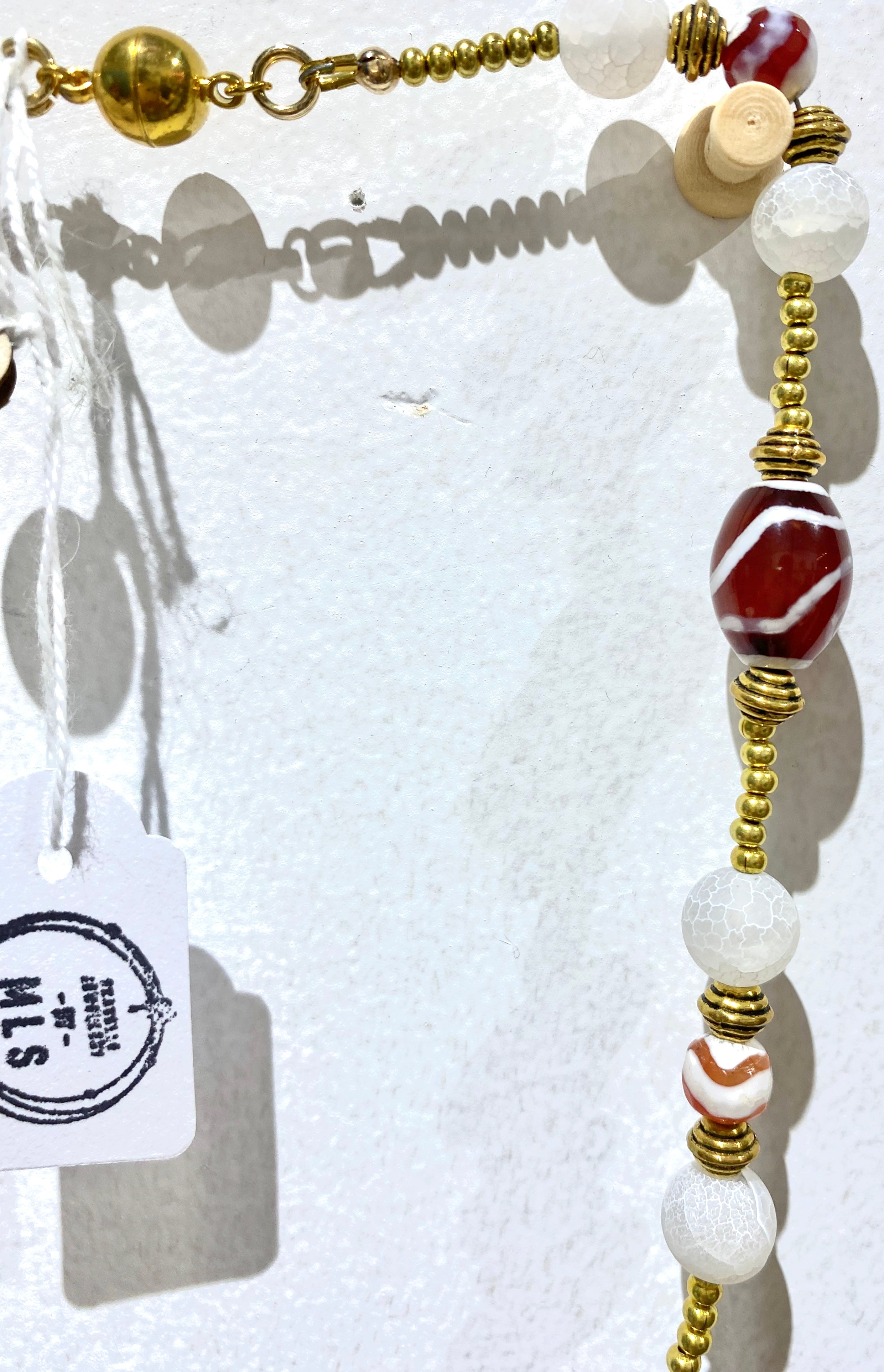 Fluorescent crackle white Glass beads Necklace SKU: MS_111N