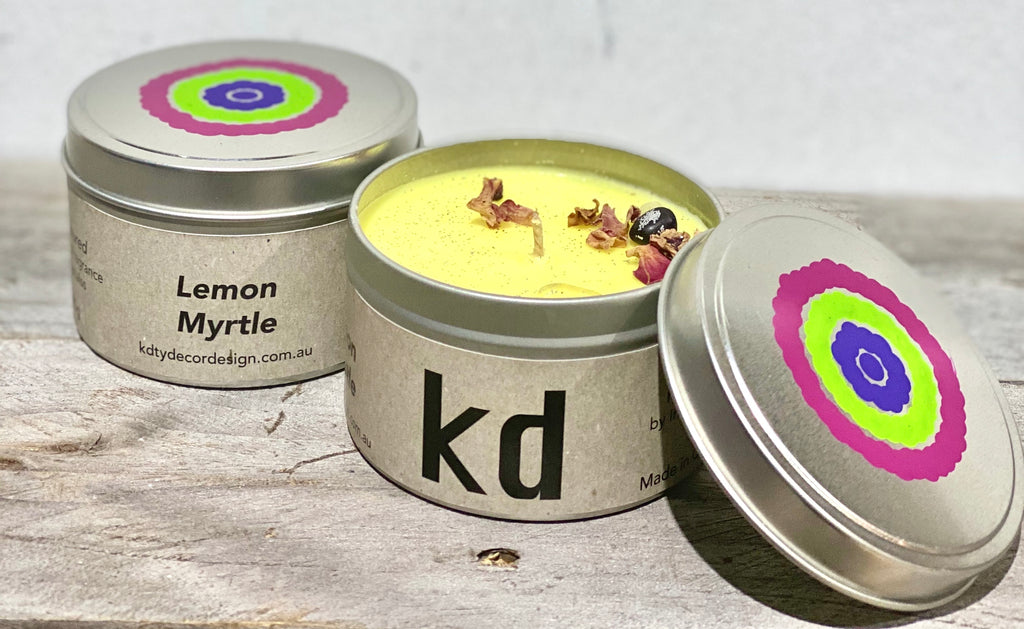 Bright Lemon Myrtle Tin Candles - Handpainted. SKU: TS:LmB