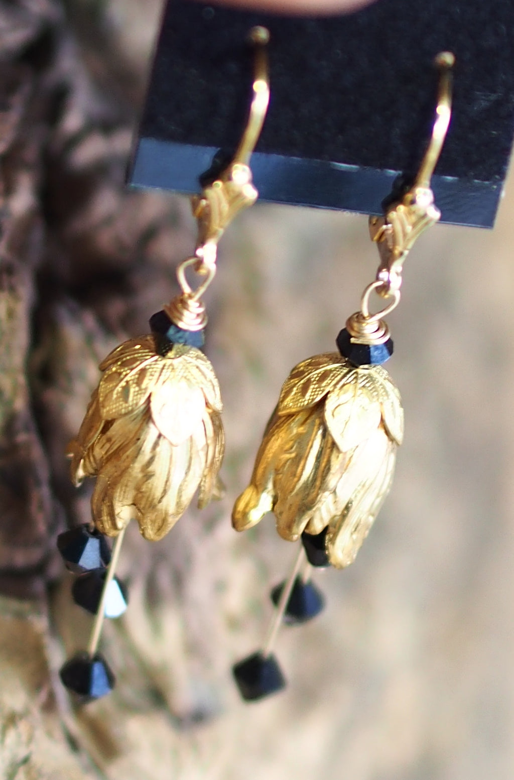 Vintage Brass + Swarovski Crystal Earrings