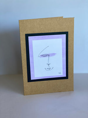 Colour One line Drawing Face Purple