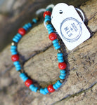 Coral + Dyed Turquoise Bracelet