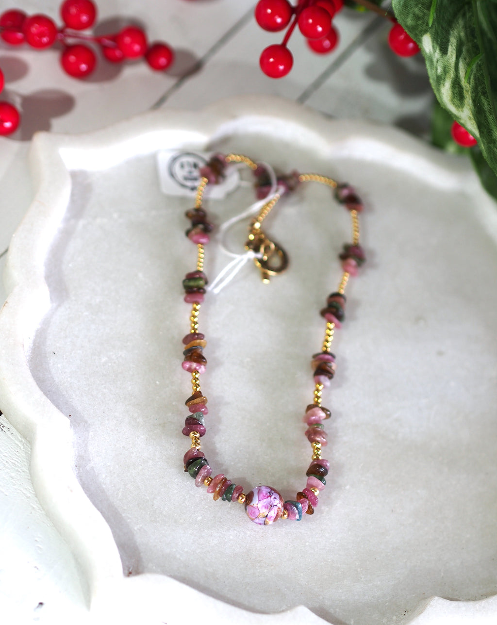 Vintage Focal Bead + Tourmaline Necklace SKU: MS_11N