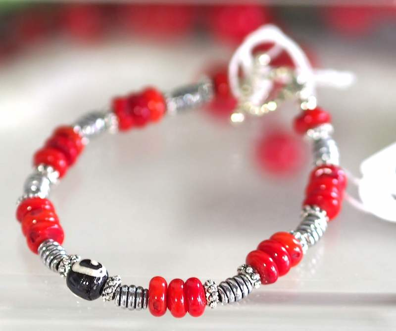 Red Bamboo Coral Bracelet - SKU: MS_12B