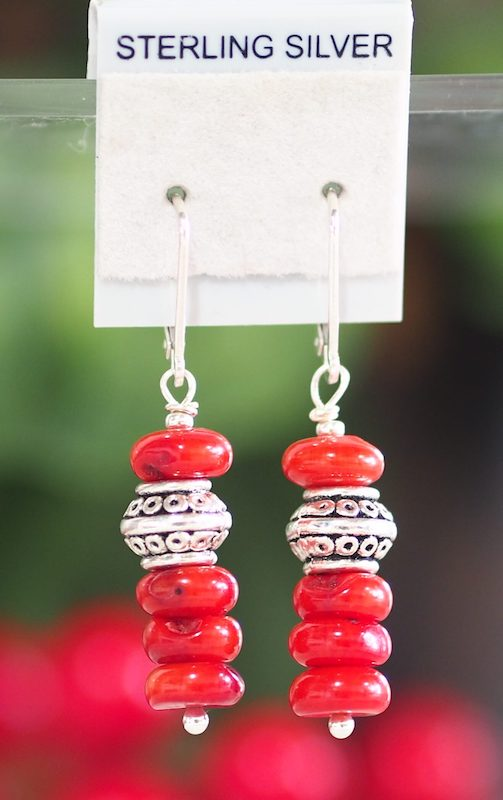 Red Bamboo Coral Earrings - SKU: MS_12E