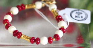 Red Bamboo Coral Bracelet - SKU: MS_7B