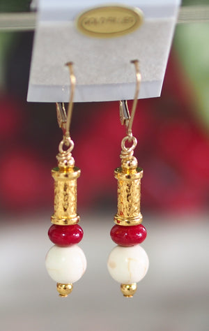 Red Bamboo Coral Earrings - SKU: MS_7E
