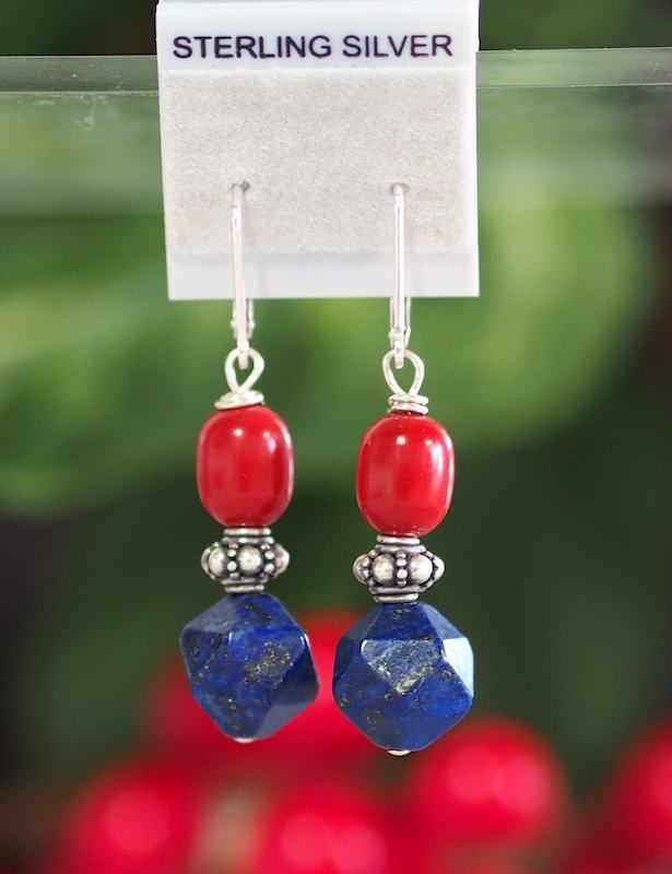 Lapus Lazuli + Bamboo Coral Earrings - SKU: MS_9E