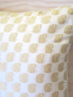 Ivory + Gold Weaved Cushion SKU:C_IG