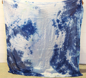 Abstract White Blue Ice dyed wraps