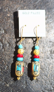 Tibetan + 24kt Gold Bali Vermeil - Earrings - 60E