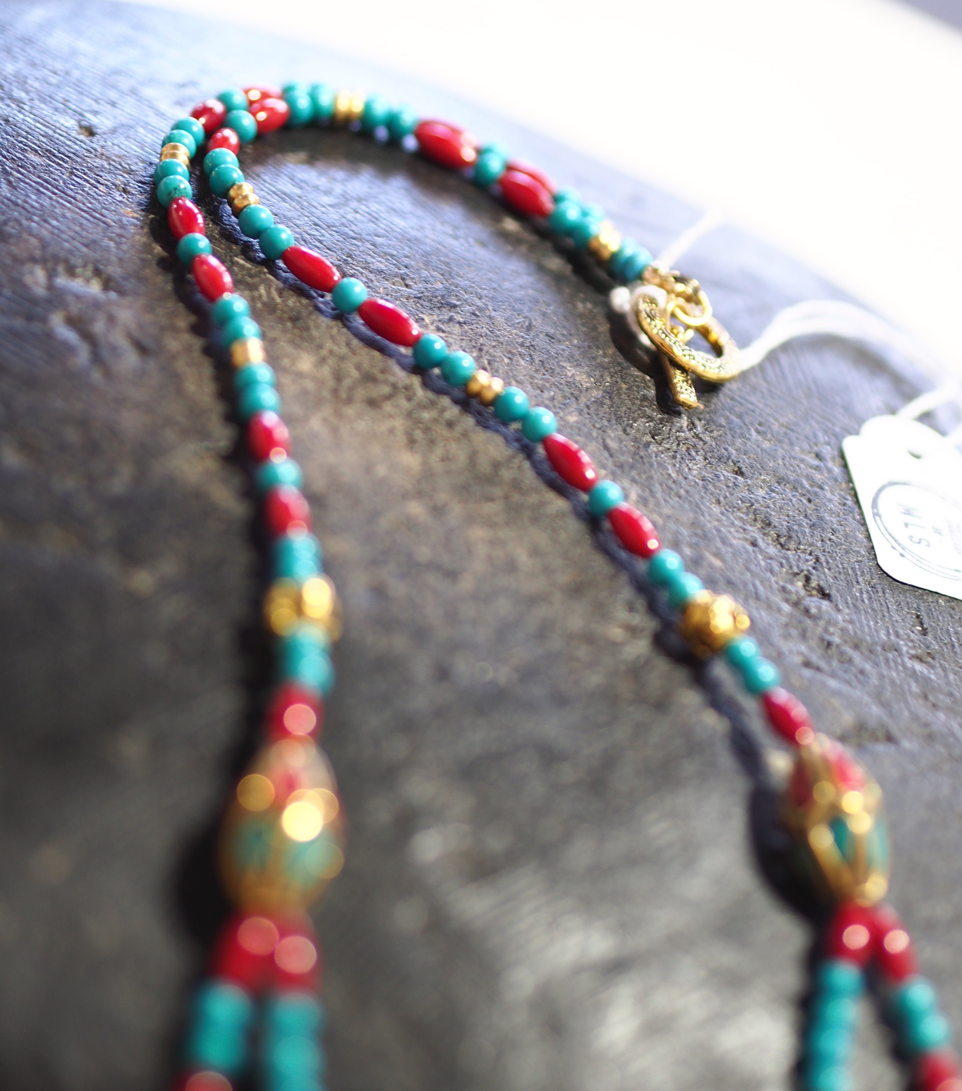 Tibetan + Genuine Turquoise bead - 2string L Necklace - 58N