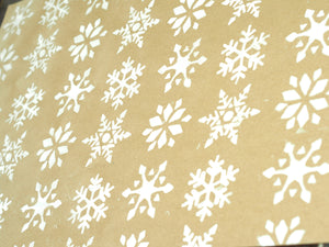 Snow Flakes Brown Wrapping Paper