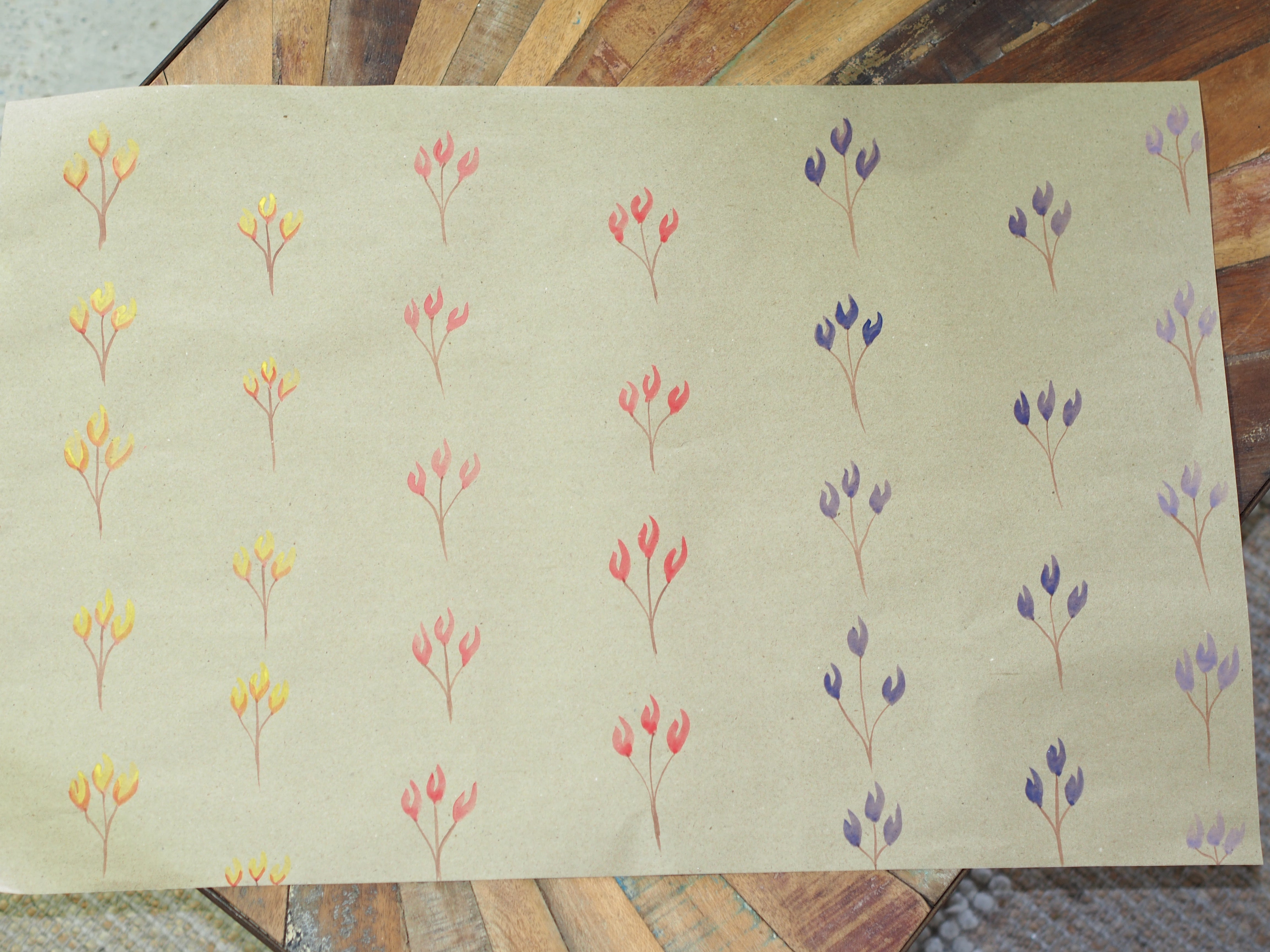 Handpainted Tulip Brown Wrapping Paper
