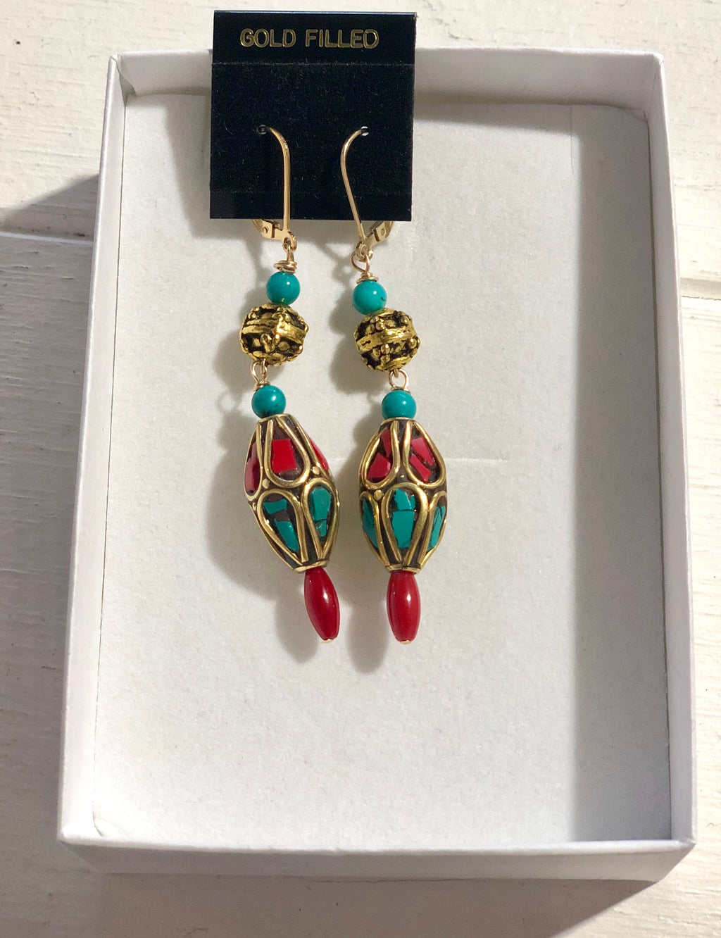 Tibetan + Genuine Turquoise bead - L Earrings - 58E