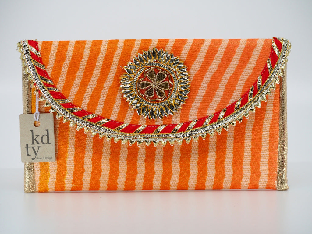 Leheriya Gota Clutch Peach Red- LG_PcR