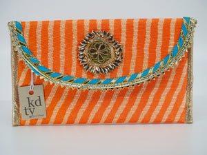Leheriya Gota Clutch Peach L.Blue- LG_PcB