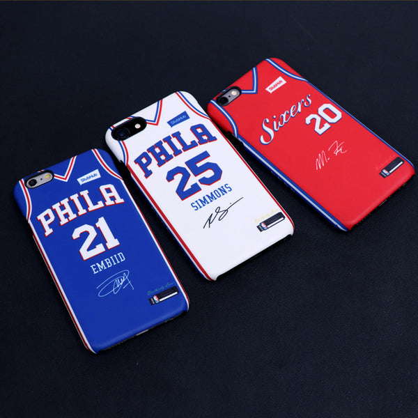 new arrivals 2859b 1df6e Philadelphia 76ers Blue/White/Red Jersey Phone Case