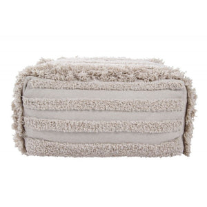 POUF BEIGE NATURAL FRANGES