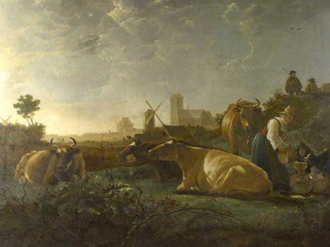 A Distant View Of Dordrecht, With A Milkmaid And Four Cow